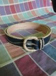KILLER 50s ROCKABILLY BLACK LEATHER BELT- SIZE 90 -AMAZING DESIGN - TOP QUALITY - VLV -